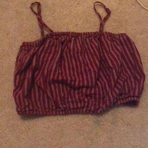 Elastic band striped bra top